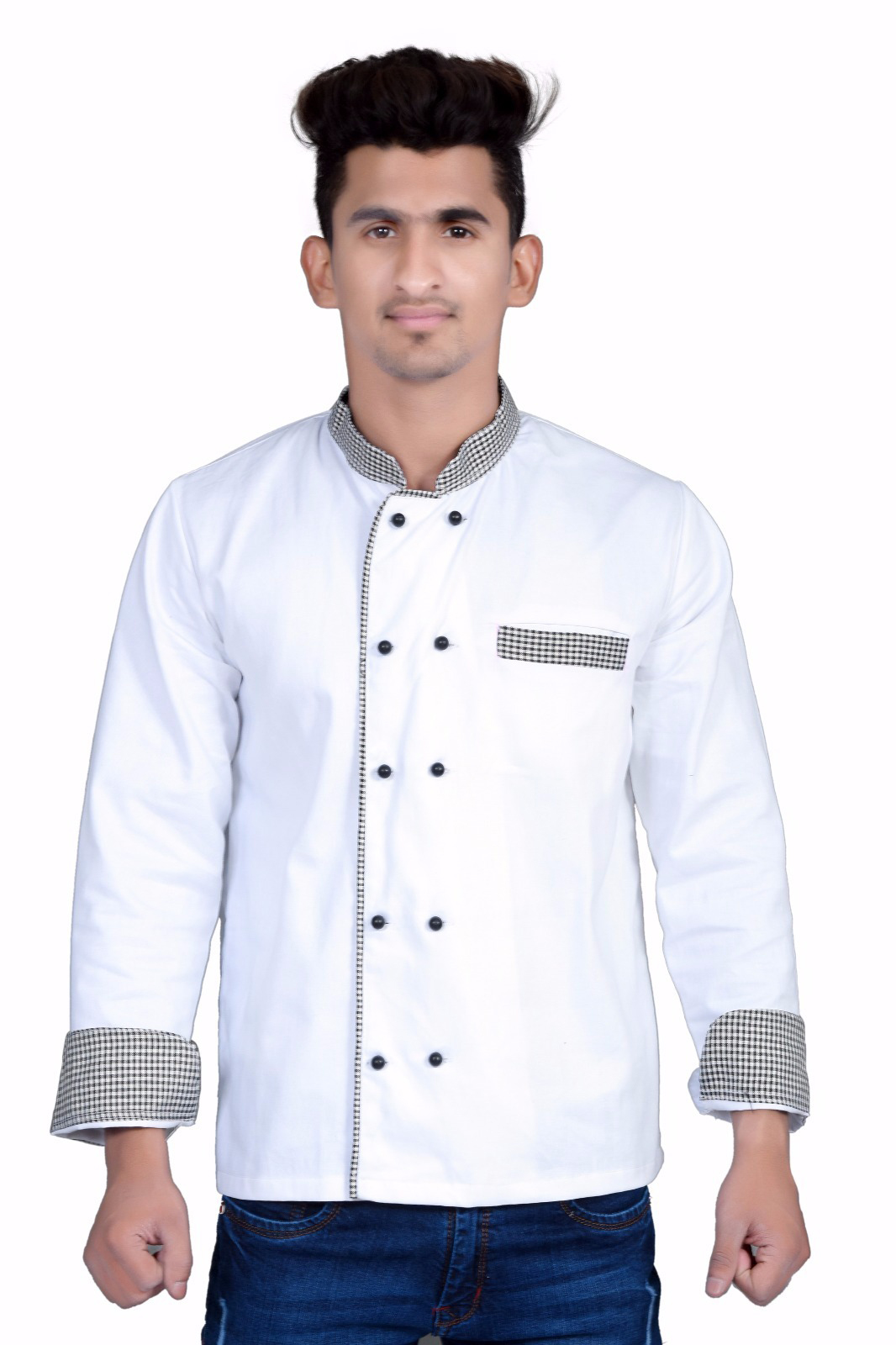 SIGNATURE WHITE COLOR CHEF COAT CHECK COLLAR