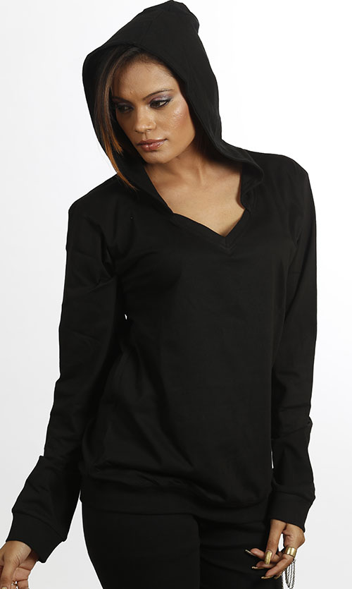 Women Full Sleeves Sweat Shirt With Hood