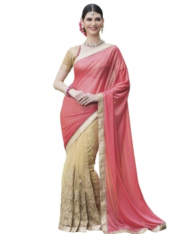 Sati Pink and Beige Coloured Chiffon And Net