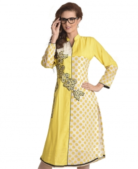 SF Yellow and Cream Coloured Cotton and Chanderi Kurti