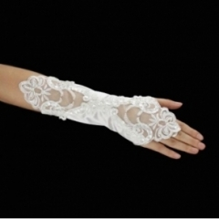 Lace And Satin Half Size Gloves