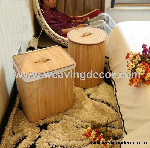 foldable bamoo laundry basket bamboo basket